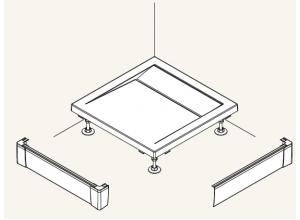 PWIL 080 100 04 SanSwis Přední panel L hliníkový pro obdélníkovou vaničku 80×100 cm - bílý