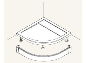 PWIR 55 090 04 SanSwiss Přední panel hliníkový pro čtvrtkruhovou vaničku 90×90 cm- bílý