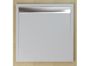 WIQ 100 50 04 SanSwiss Sprchová vanička čtvercová 100×100 cm bílá, kryt aluchromový