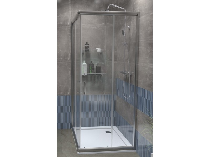 FUNY Q 90 Clear ROCKY Well Sprchový kout s vaničkou