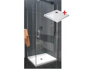ALFA ROCKY 70 x 70 cm Clear Well Luxusní čtvercová sprchová zástěna s mramorovou vaničkou