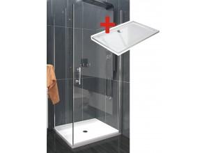 ALFA ROCKY 100 x 90 cm Clear Well Luxusní sprchová zástěna s mramorovou vaničkou