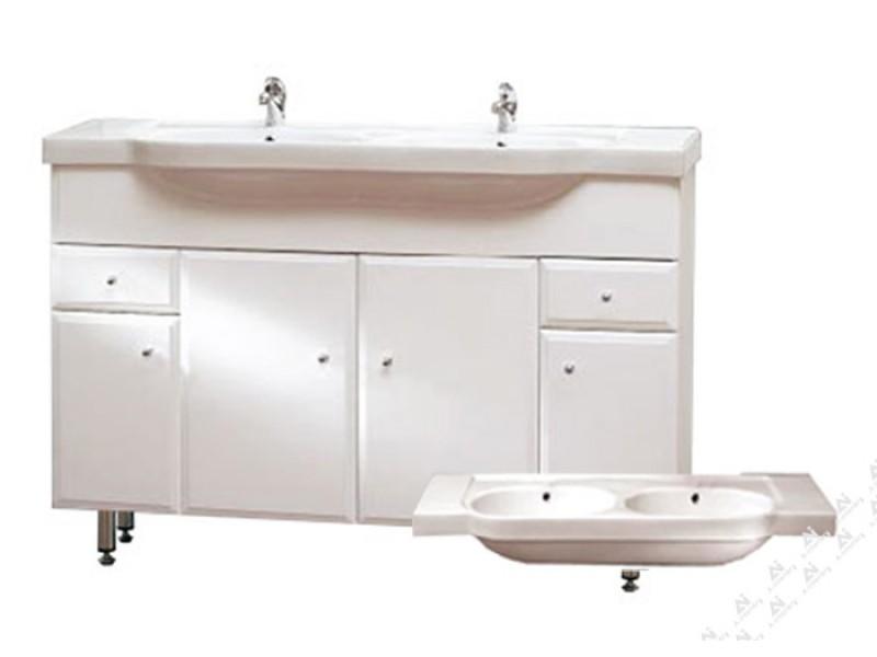 BEATA 130 ZV Well Koupelnová skříňka s dvojumyvadlem, závěsná s nožičkami