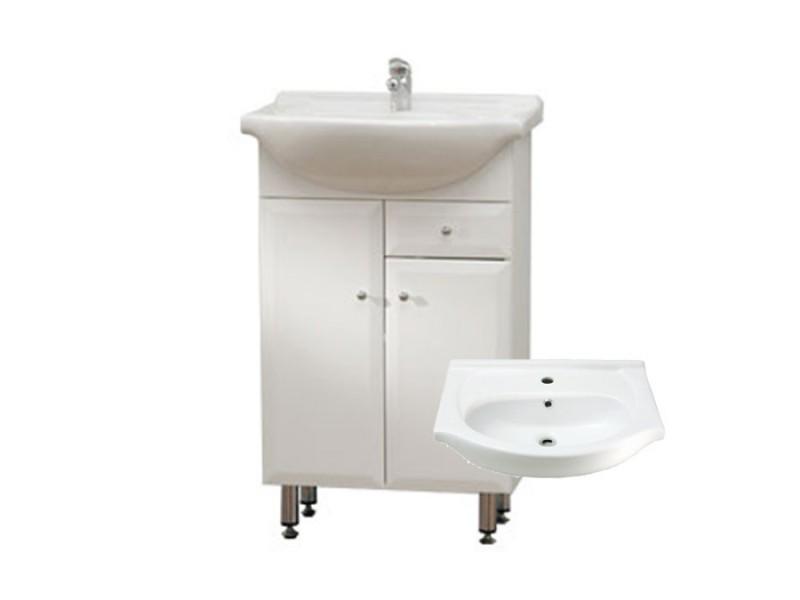 BEATA S 50 ZV Well Koupelnová skříňka s umyvadlem, závěsná s nožičkami, zásuvka