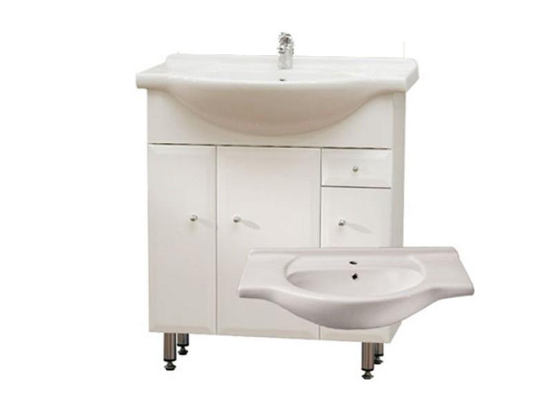 BEATA S 85 ZV Well Koupelnová skříňka s umyvadlem, závěsná s nožičkami, zásuvka