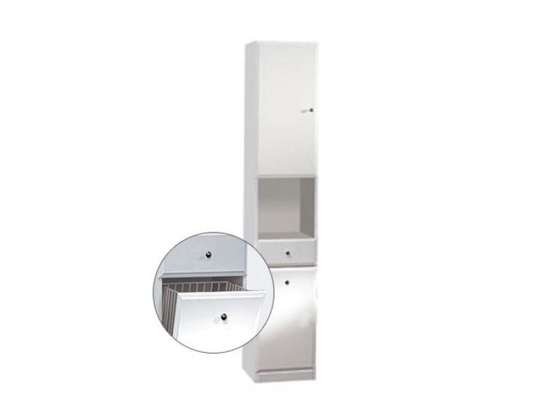 BEATA VK 32 L Well Koupelnová skříňka vysoká, sokl, koš, levá