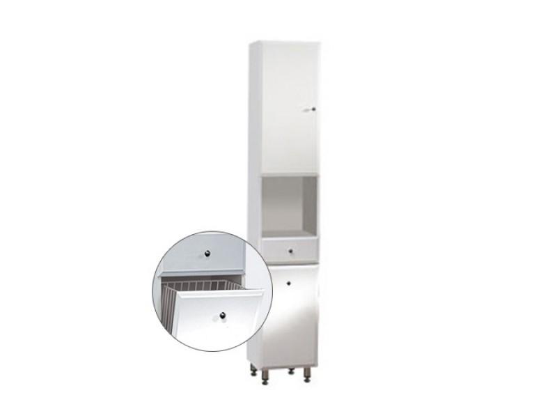 BEATA VK 32 ZV L Well Koupelnová skříňka vysoká, závěsná s nožičkami, koš, levá
