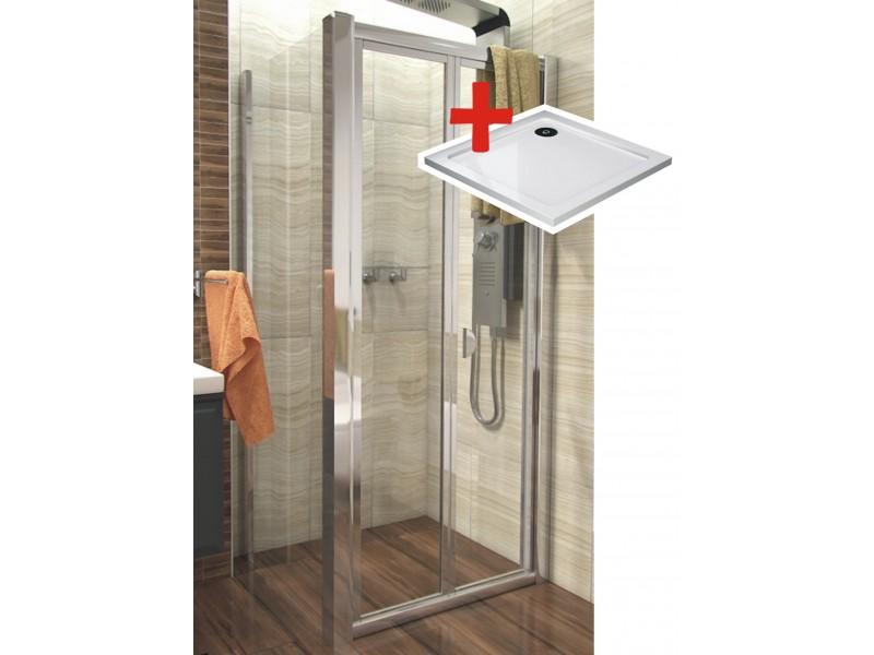 DELTA ROCKY 90x90 Clear Well Sprchový kout se zalamovacími dveřmi a mramorovou vaničkou