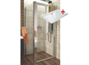 DELTA ROCKY 90x80 Clear Well Sprchový kout se zalamovacími dveřmi a mramorovou vaničkou