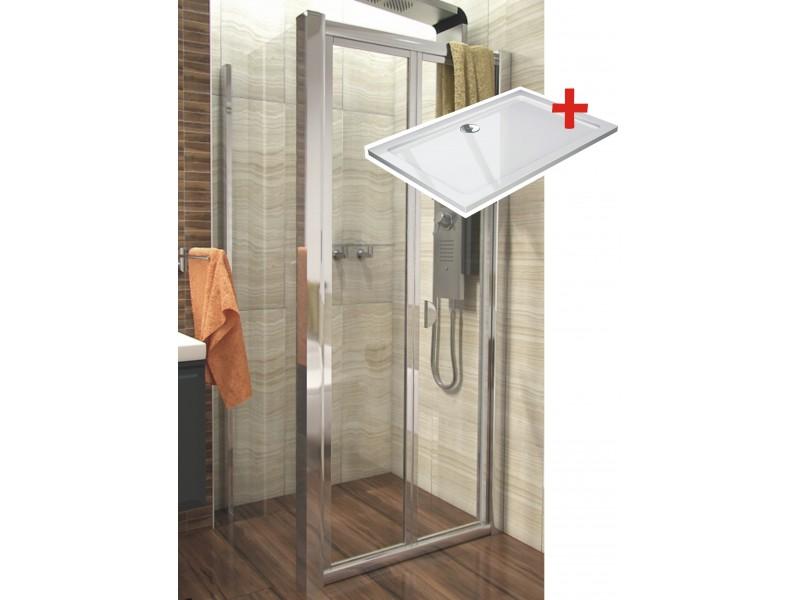 DELTA ROCKY 110x90 Clear Well Sprchový kout se zalamovacími dveřmi a mramorovou vaničkou