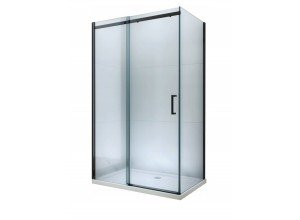 ORESTE COMBI 150x90 BLACK Clear Well Sprchová zástěna s posuvnými dveřmi