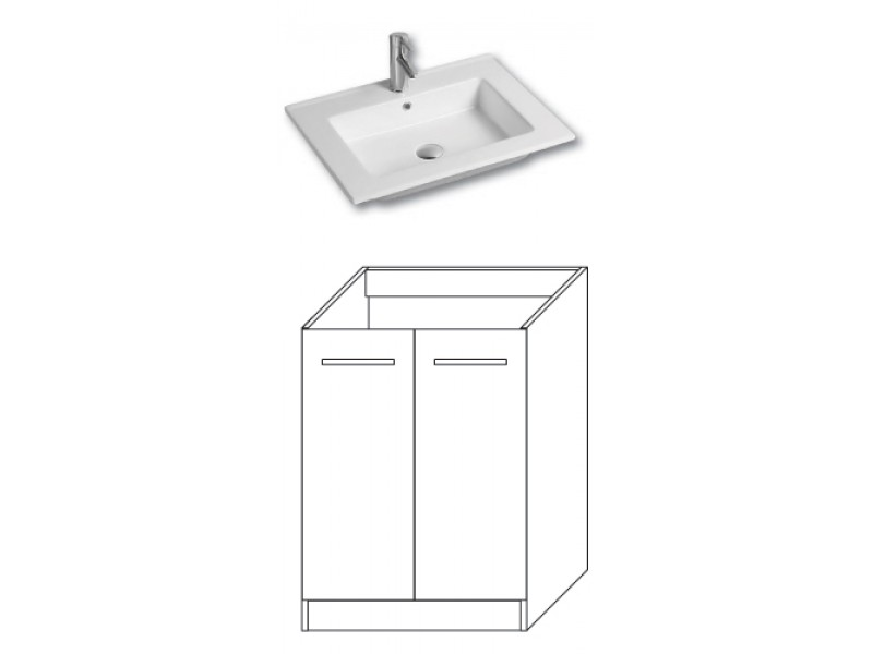 F-STANDARD-U60 Olsen-spa Skříňka s umyvadlem 60 cm, sokl, ořech dijon