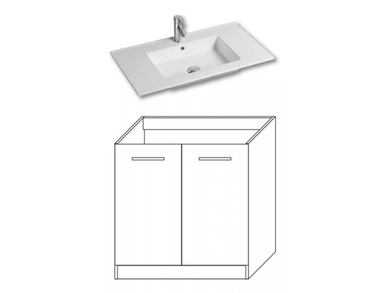 F-STANDARD-U80 Olsen-spa Skříňka s umyvadlem 80 cm, sokl, ořech dijon