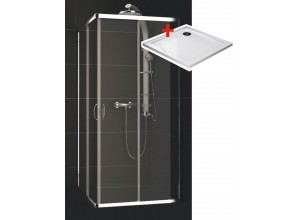 KATY Q 90 clear ROCKY Well Čtvercová sprchová zástěna s mramorovou vaničkou