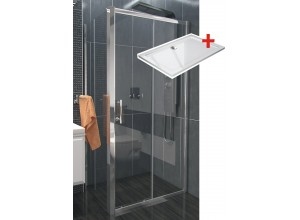 NICOL ROCKY 100x90 čiré Well sprchová zástěna obdélníková s mramorovou vaničkou