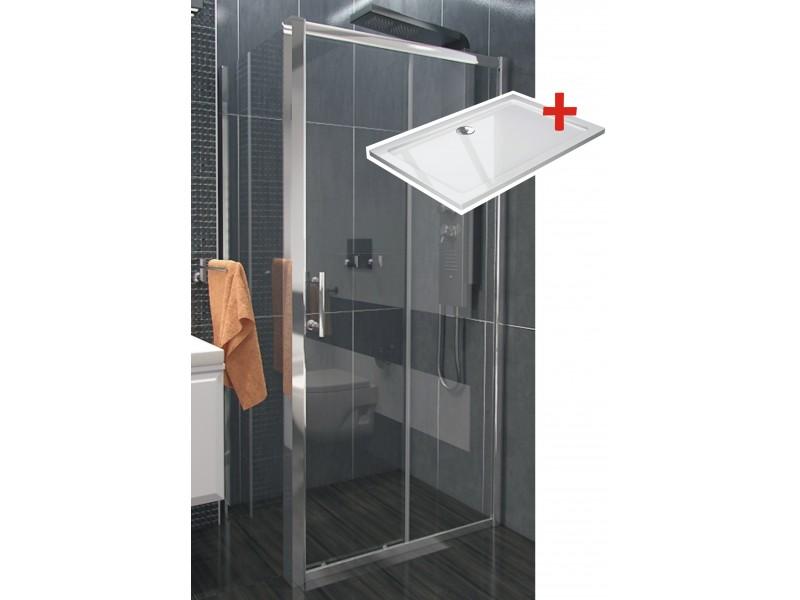 NICOL ROCKY 150x80 čiré Well sprchová zástěna obdélníková s mramorovou vaničkou
