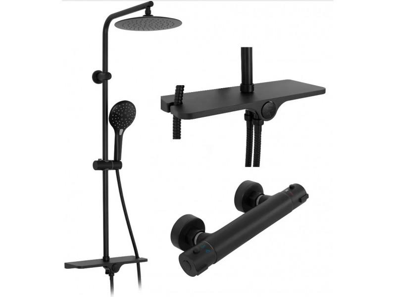 KIMI Black Well Sprchový set s baterií a poličkou