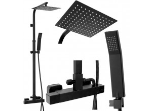 MARC Black Well Sprchový set s termostatickou baterií - hranatá