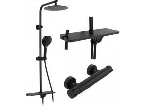 MARIN Black Well Sprchový set s termostatickou baterií a poličkou