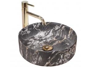 SABINE marmo black Umyvadlo na desku - kulaté, mat