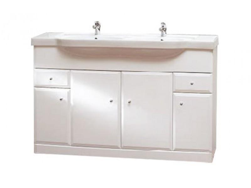 BEATA 130 Well Koupelnová skříňka s dvojumyvadlem, sokl