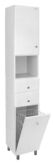Koupelnová skříňka Dřevojas vysoká s košem K-30-D bílá 30 x 180