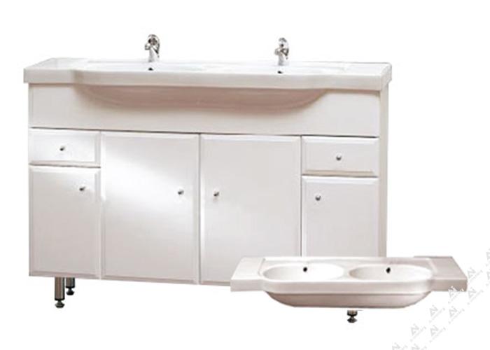 Well BEATA 130 ZV W50892 Koupelnová skříňka s dvojumyvadlem, závěsná s nožičkami