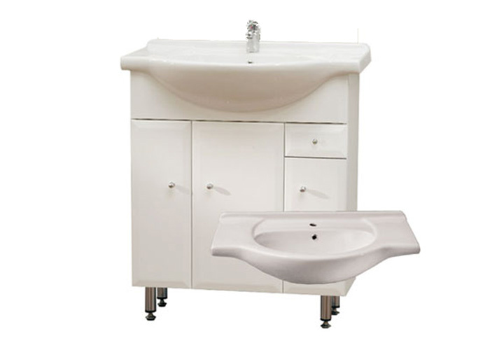 Well BEATA S 75 ZV W50888 Koupelnová skříňka s umyvadlem, závěsná s nožičkami, zásuvka