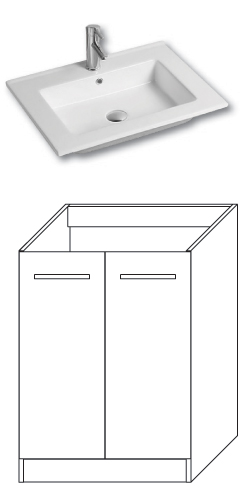 F-STANDARD-U60 Olsen-spa Skříňka s umyvadlem 60 cm, sokl, arusha wenge