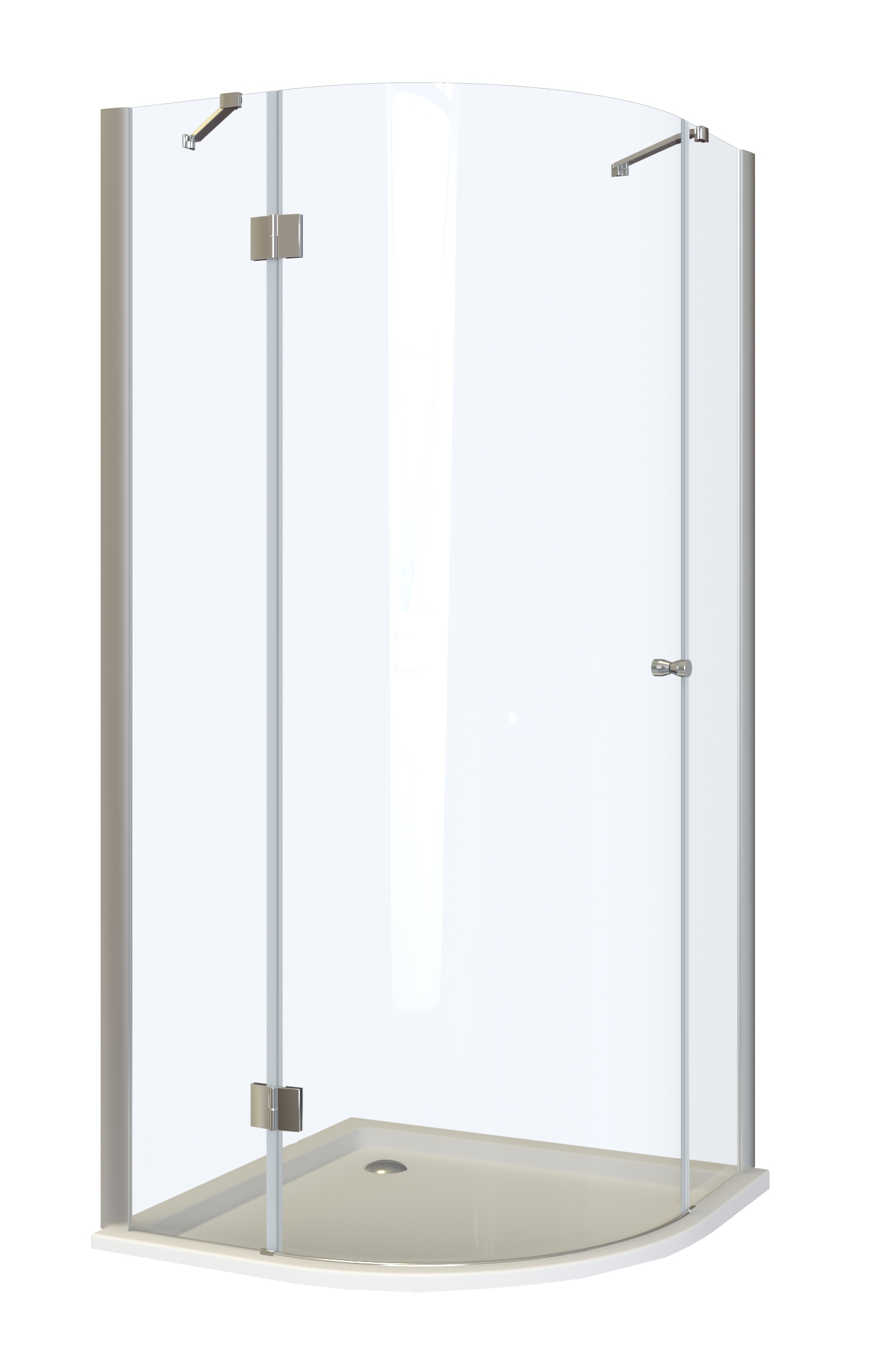 Well RIMINI L90 MRAMOR W52537 Čtvrtkruhový sprchový kout s mramorovou vaničkou - levé otevírání