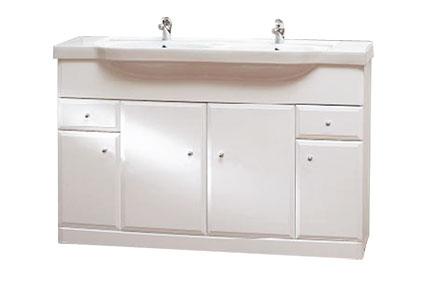 Well BEATA 130 W50822 Koupelnová skříňka s dvojumyvadlem, sokl